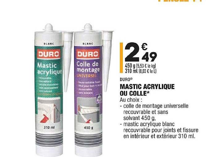 Aldi Mastic Acrylique Ou Colle Duro