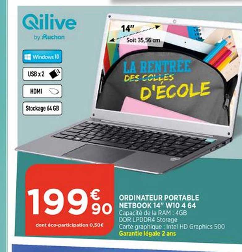 Bi1 Ordinateur Portable Netbook 14 Pouce W10 4 64 Qilive Auchan