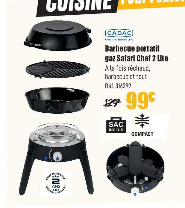 Narbonne Accessoires Barbecue Portatif Gaz Safari Chef 2 Lite Cadac