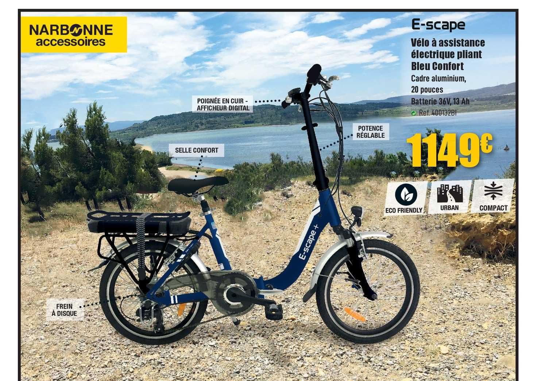Narbonne Accessoires Vélo à Assistance électrique Pliant Bleu Confort E Scape