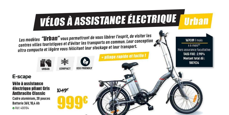 Narbonne Accessoires Vélo à Assistance électrique Pliant Gris E Scape