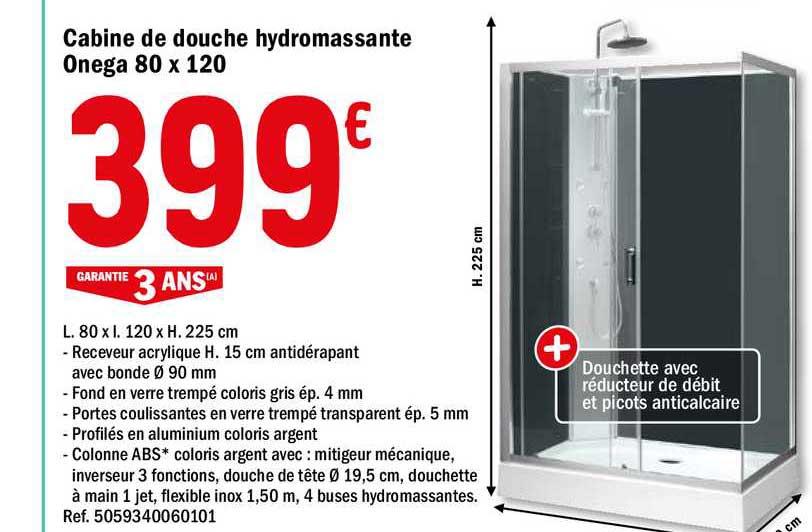 Brico Dépôt Cabine De Douche Hydromassante Onega 80 X 120