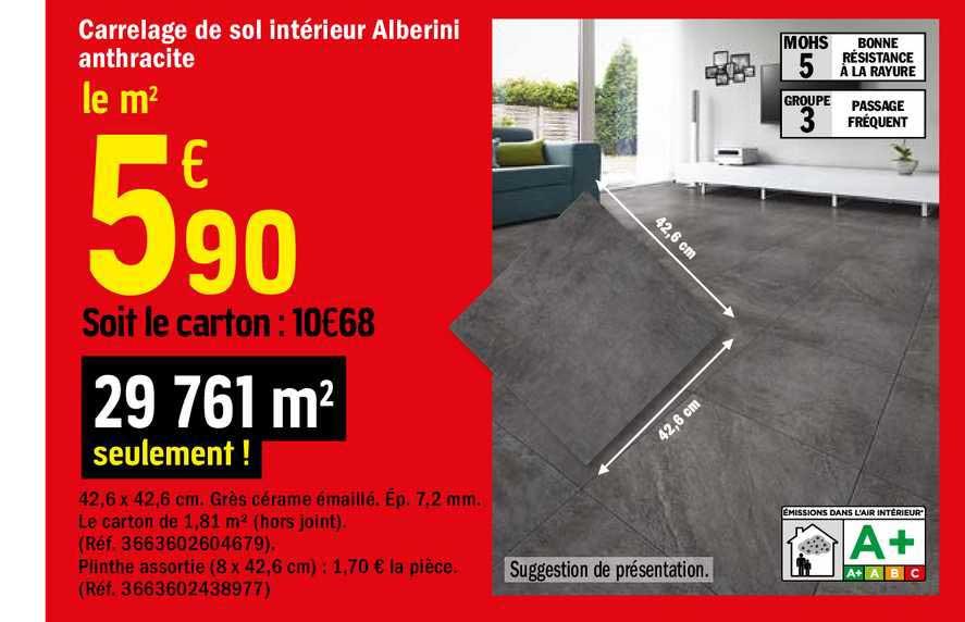 Offre Carrelage De Sol Interieur Alberini Anthracite Chez Brico Depot