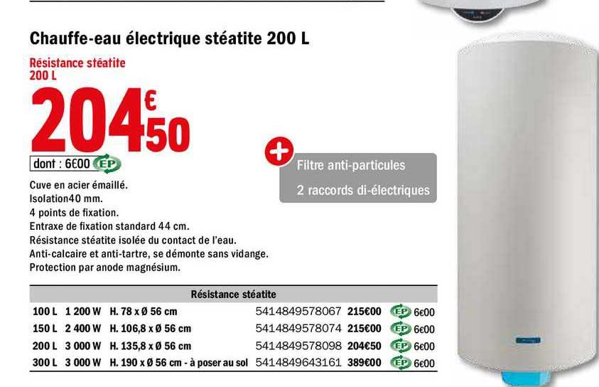 Offre Chauffe Eau Electrique Steatite 200 L Chez Brico Depot