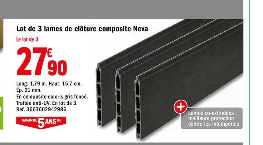Offre Lot De 3 Lames De Cloture Composite Neva Chez Brico Depot