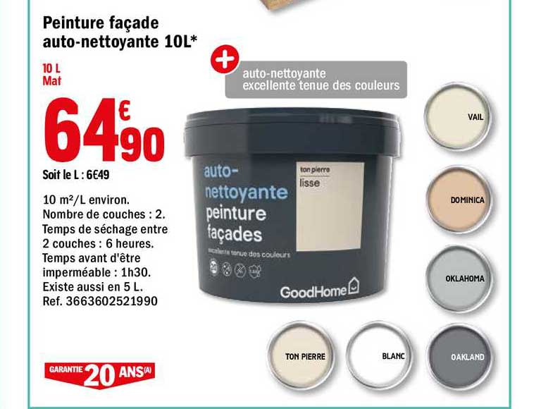 Offre Peinture Facade Auto Nettoyante 10l Goodhome Chez Brico Depot