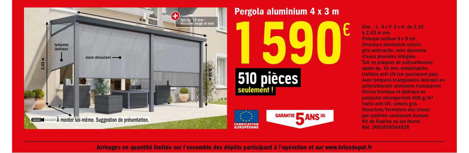 Offre Pergola Aluminium 4 X 3 M Chez Brico Depot