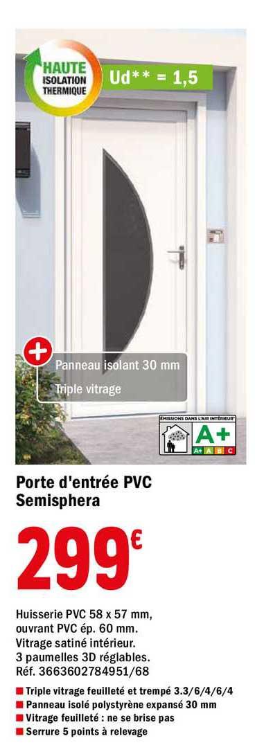 Offre Porte D Entree Aluminium Detroit Chez Brico Depot