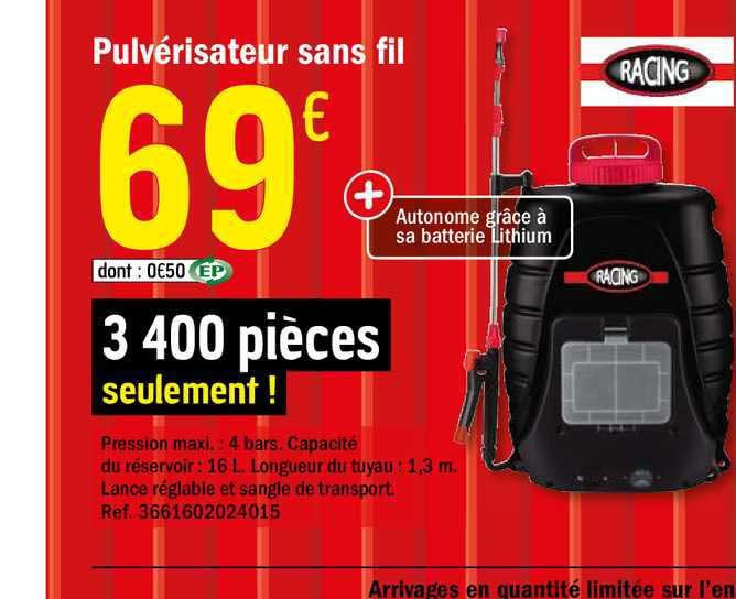 Offre Pulverisateur Sans Fil Racing Chez Brico Depot