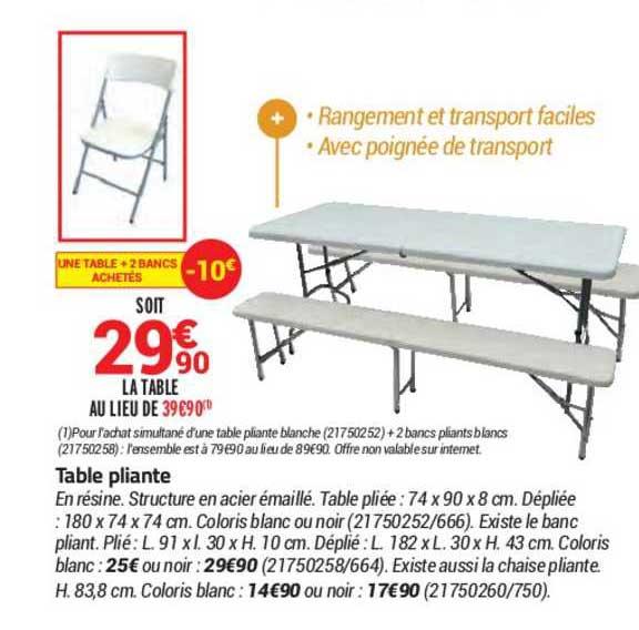 Offre Table Pliante Chez Bricorama