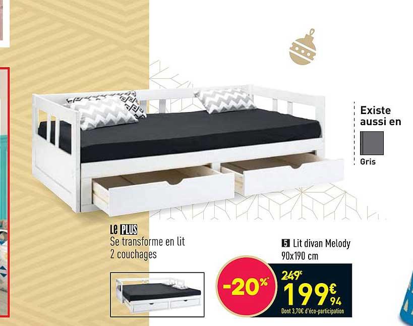 Offre Lit Divan Melody 90 X 190 Cm Chez Conforama