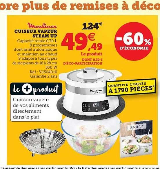 Super U Cuiseur Vapeur Steam Up Moulinex