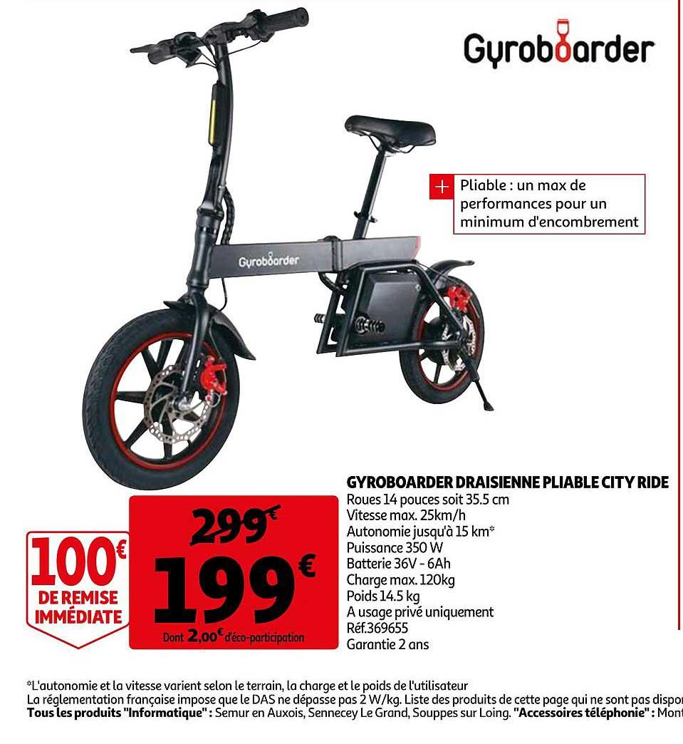Auchan Gyroboarder Draisienne Pliable City Ride