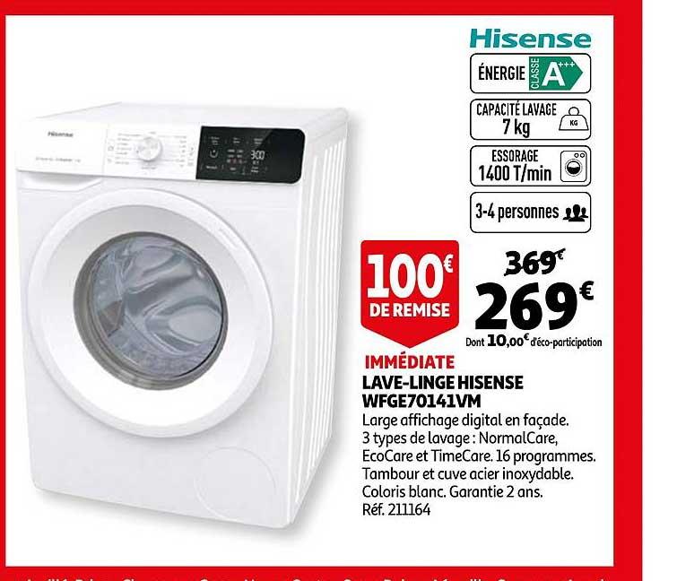 Auchan Lave Linge Hisense Wfge70141vm