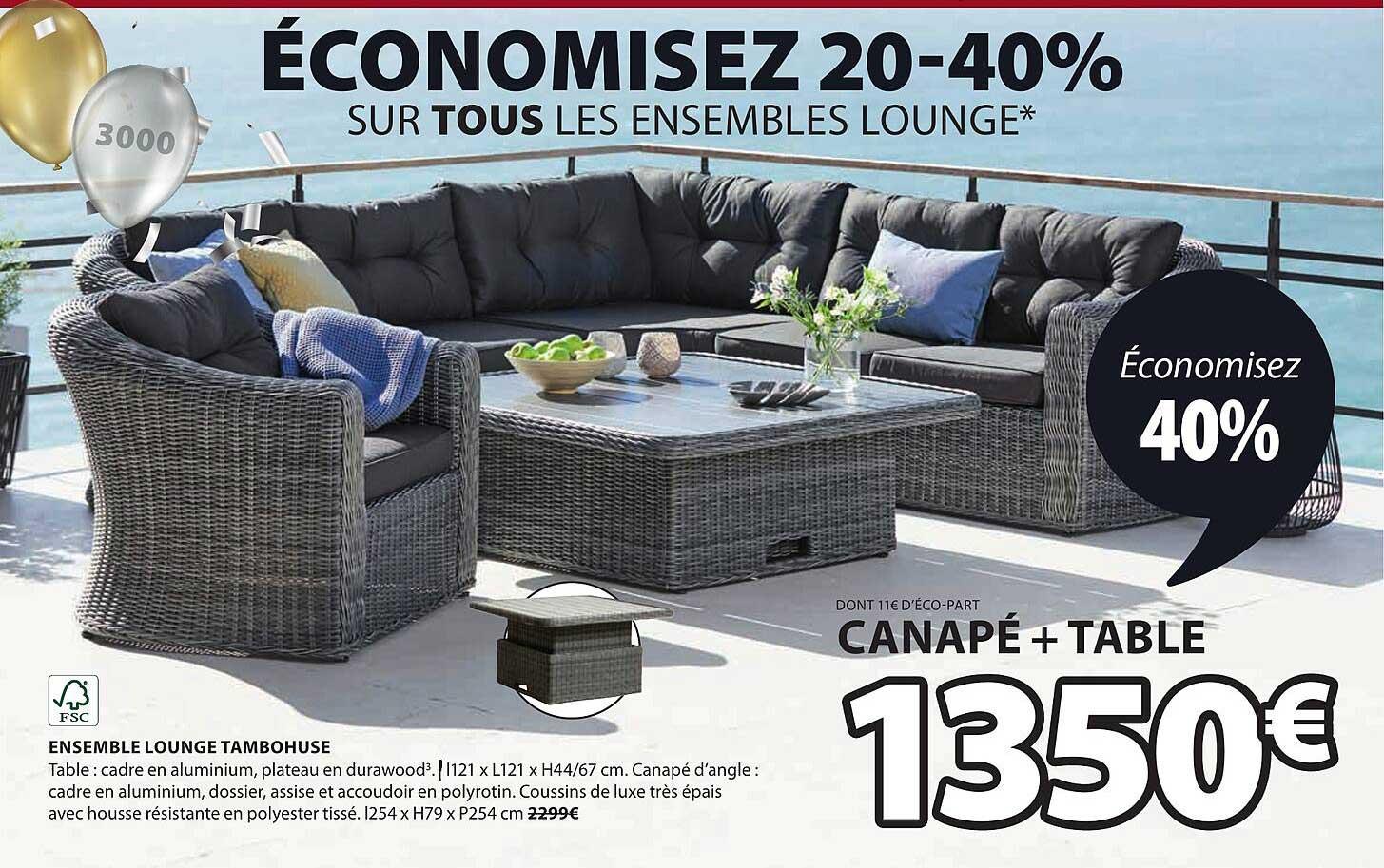 JYSK Ensemble Lounge Tambohuse : Canapé + Table