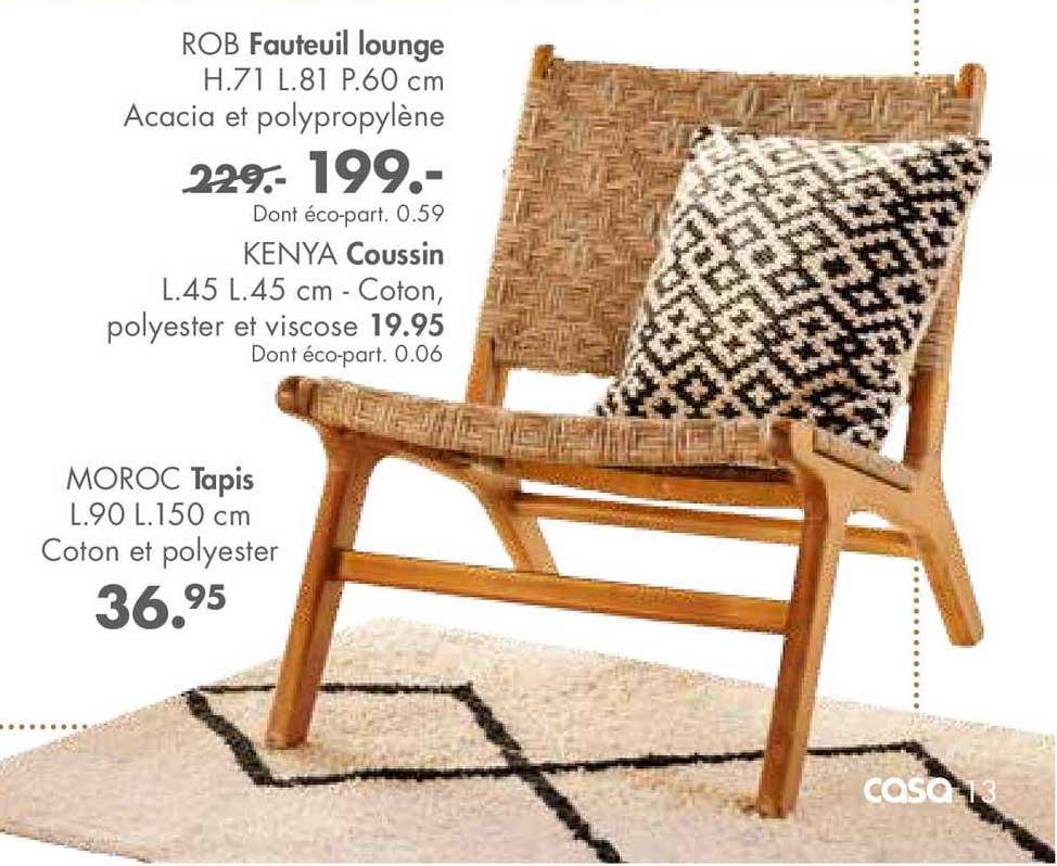 Casa Fauteuil Lounge Rob, Coussin Kenya, Tapis Moroc