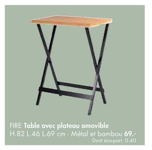 Casa Table Avec Plateau Amovible Fire