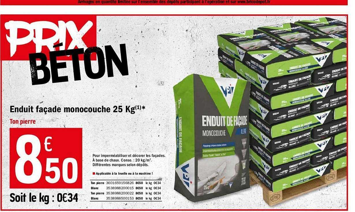 Offre Enduit Facade Monocouche 25 Kg Chez Brico Depot