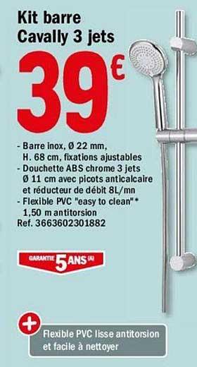 Offre Kit Barre Cavally 3 Jets Chez Brico Depot
