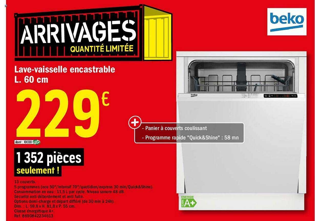 Offre Lave Vaisselle Encastrable L 60 Cm Chez Brico Depot