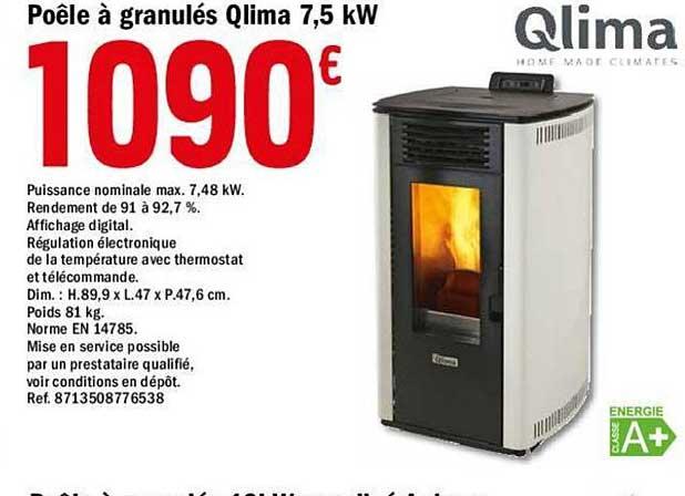 Offre Poele A Granules Qlima 7 5 Kw Chez Brico Depot