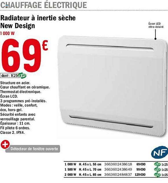 Offre Radiateur A Inertie Seche New Design Chez Brico Depot
