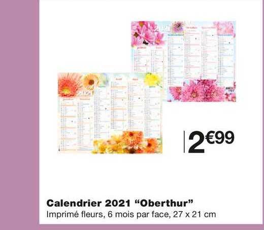 Offre Calendrier 2021 Oberthur chez Monoprix