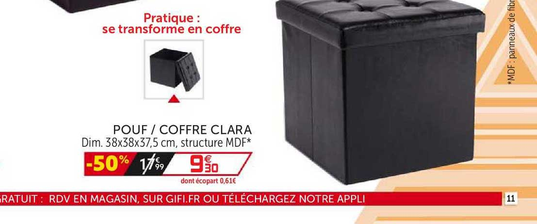 Offre Pouf Coffre Clara Chez Gifi