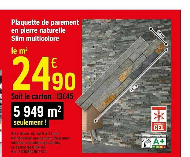 Offre Plaquette De Parement En Pierre Naturelle Slim Multicolore Chez Brico Depot