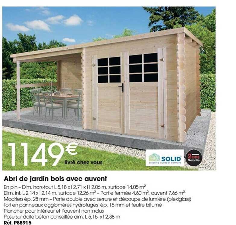 Brico Pro Abri De Jardin Bois Avec Auvent Solid
