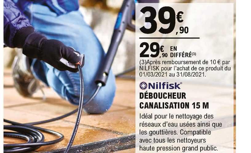 Déboucheur de Canalisations de 15 m Nilfisk pour Nettoyeur Haute Pression