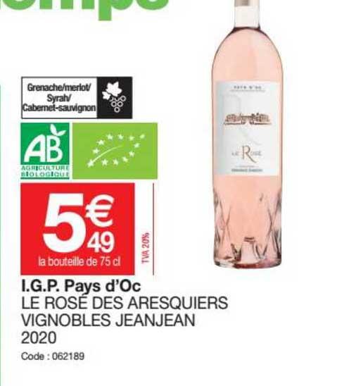 Promocash I.g.p. Pays D'oc Le Rosé Des Aresquiers Vignobles Jeanjean 2020