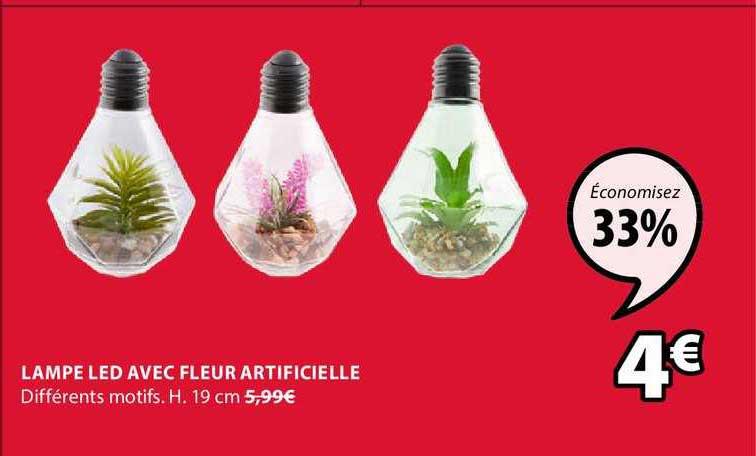 JYSK Lampe Led Avec Fleur Artificielle