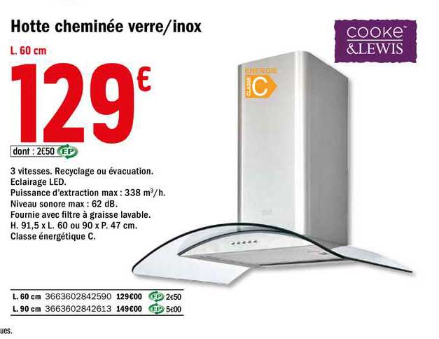 Offre Hotte Cheminee Verre Inox Cooke Lewis Chez Brico Depot