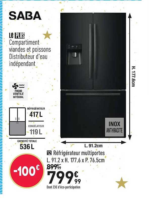 Conforama Réfrigérateur Multiportes Saba