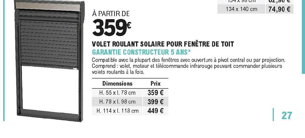 Offre Volet Roulant Solaire Pour Fenetre De Toit Chez Eleclerc Brico