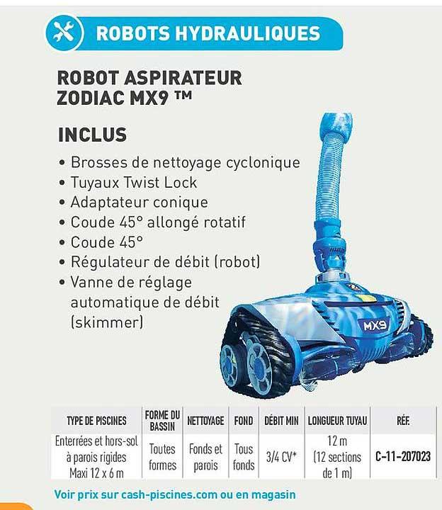 Cash Piscines Robot Aspirateur Zodiac Mx9