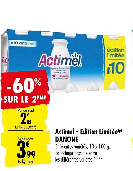 Offre Actimel Edition Limitée Danone -60% Sur Le 2eme chez ...