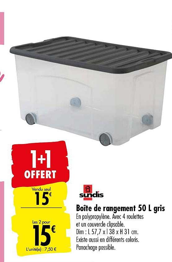 Offre Boite De Rangement 50 L Gris Sundis 1 1 Offert Chez Carrefour