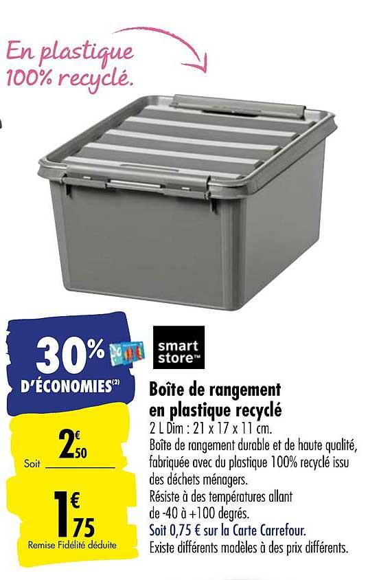 Offre Boite De Rangement En Plastique Recycle Smart Store Chez Carrefour