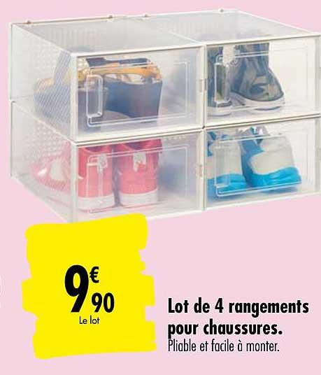 Offre Lot De 4 Rangements Pour Chaussures Chez Carrefour