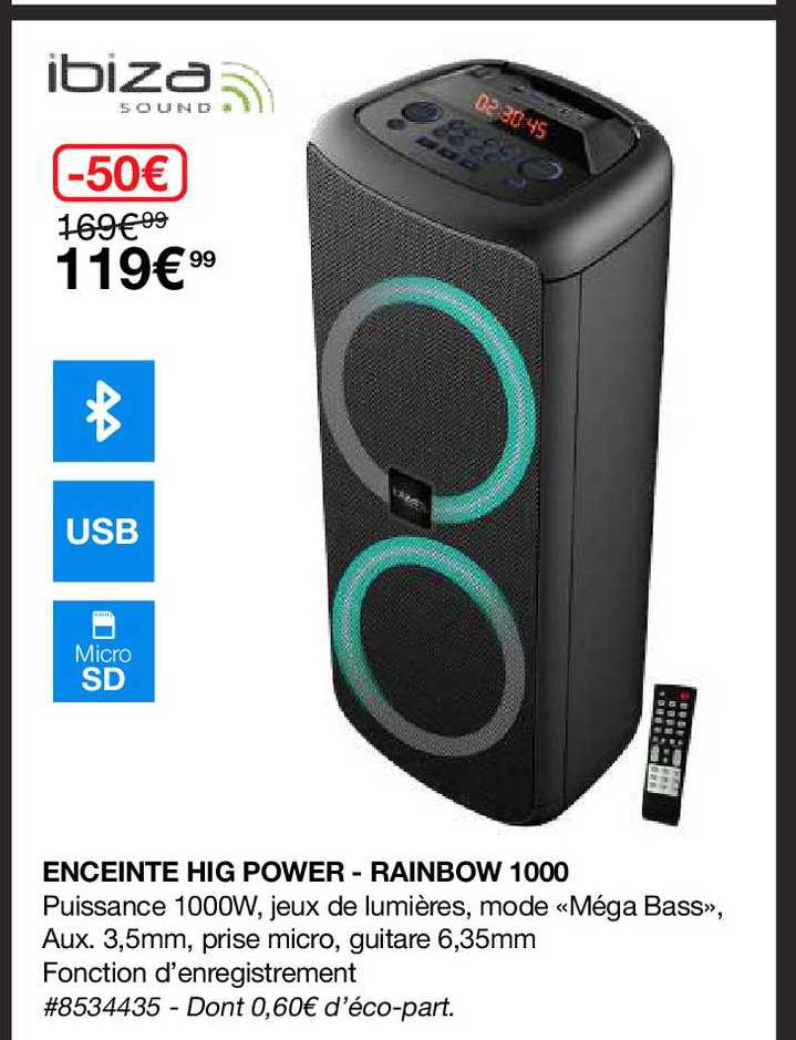 Costco Enceinte Hig Power - Rainbow 1000 Ibiza