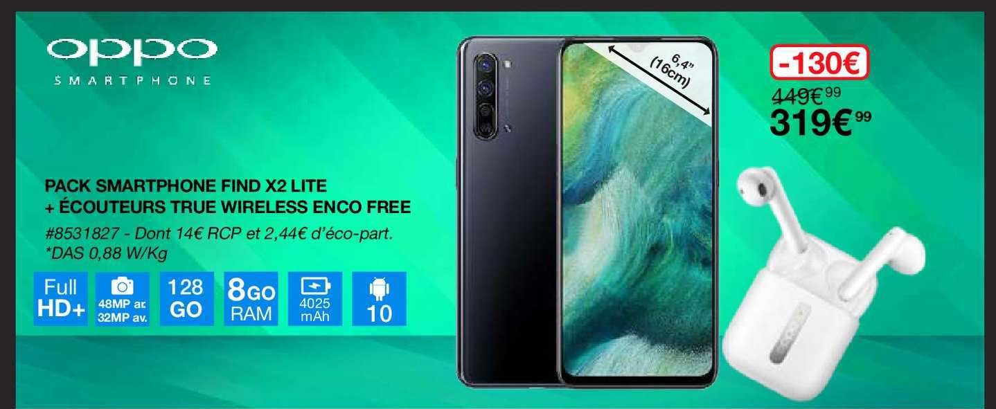 Costco Pack Smartphone Find X2 Lite + écouteurs True Wireless Enco Free Oppo