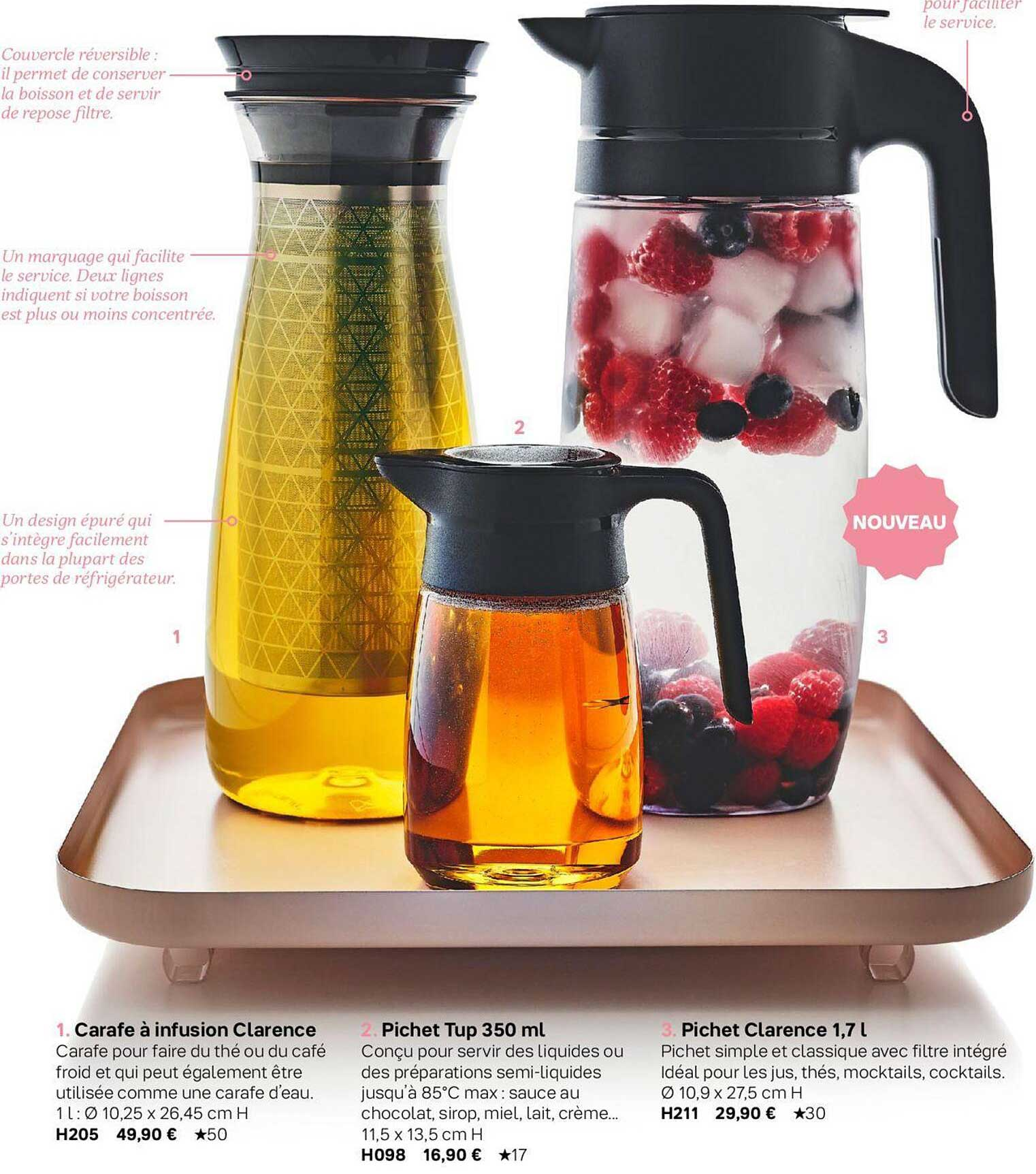 Tupperware Carafe A Infusion Clarence, Pichet Tup350ml, Pichet Clarence 1,7l