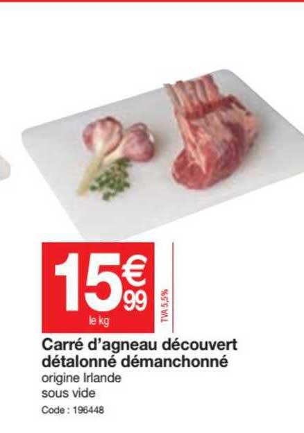 Promocash Carré D' Agneau Découvert Détalonné Démanchonné