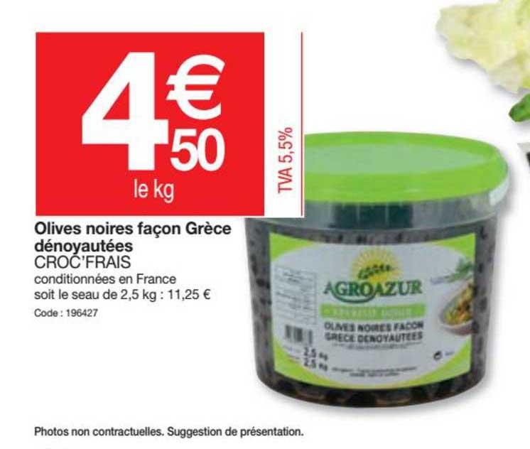 Promocash Olives Noires Facon Grèce Dénoyautées