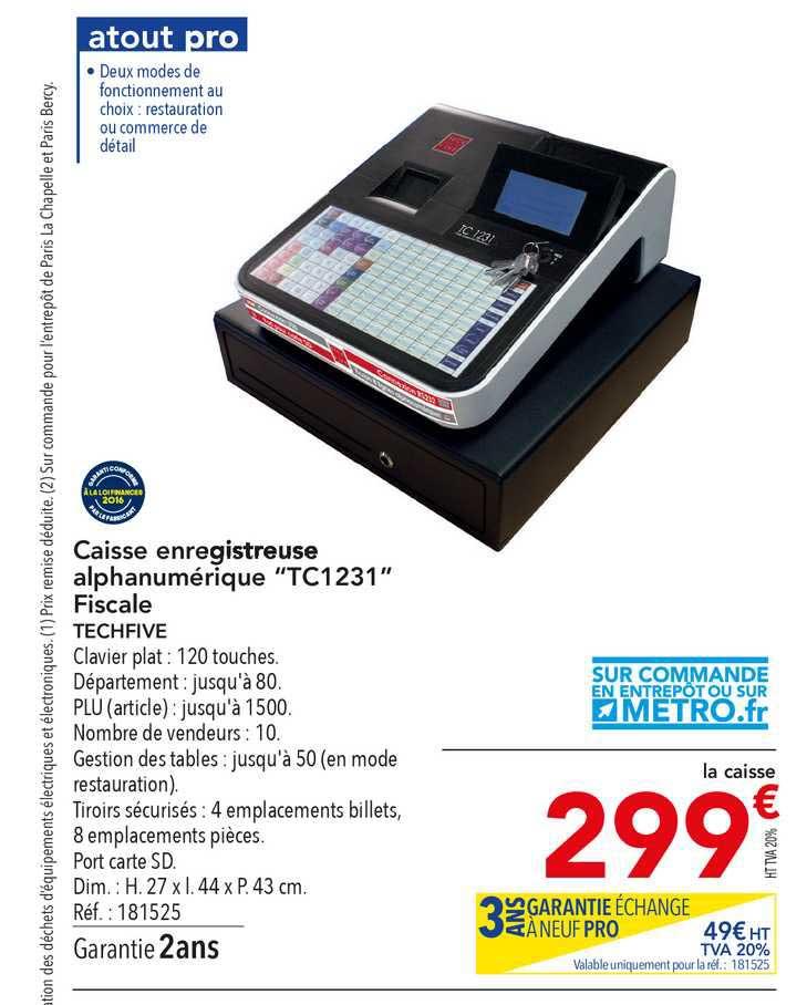 METRO Caisse Enregistreuse Alphanumérique Tc1231 Fiscale Techfive