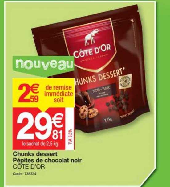 Promocash Chunks Dessert Pépites De Chocolat Noir Côte D'or