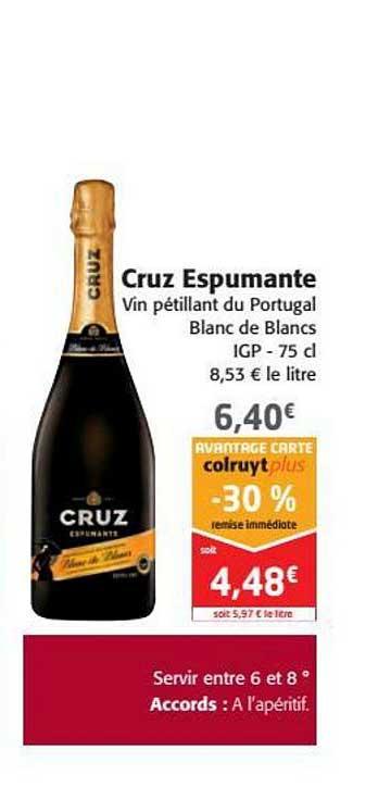 Colruyt Cruz Espumante Vin Pétillant Du Portugal Blanc Des Blancs -30% Remise Immédiate