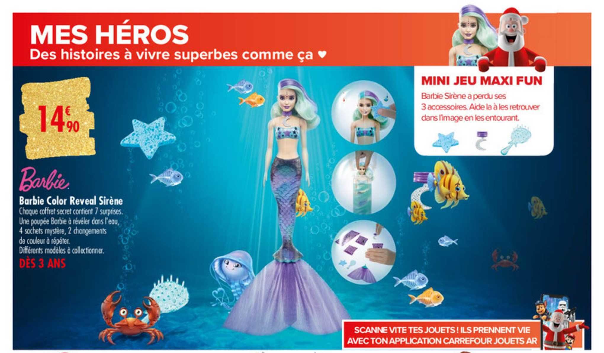 Carrefour Barbie Color Reveal Sirène